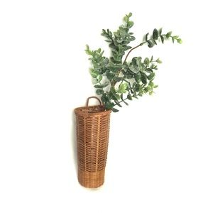 Wicker Rattan Wall Hanging Plant Holder Basket